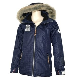 Fila Winter Hooded Jacket Youth Removable Faux Fur
